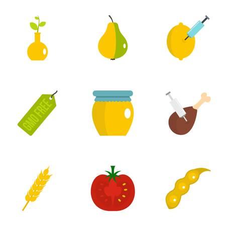 GMO product icon set. Flat set of 9 GMO product vector icons for web isolated on white background Illustration