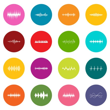 Sound wave icons many colors set isolated on white for digital marketing