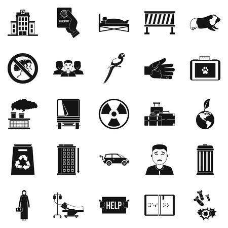 Patronage icons set, simple style