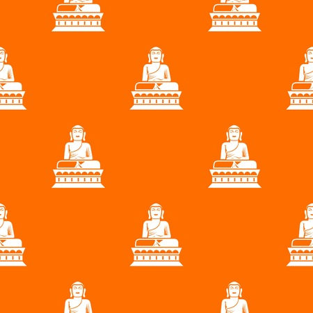 Buddha statue pattern repeat seamless in orange color for any design. Vector geometric illustration Illustration