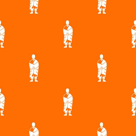 in monastery: Buddhist monk pattern repeat seamless in orange color for any design. Vector geometric illustration