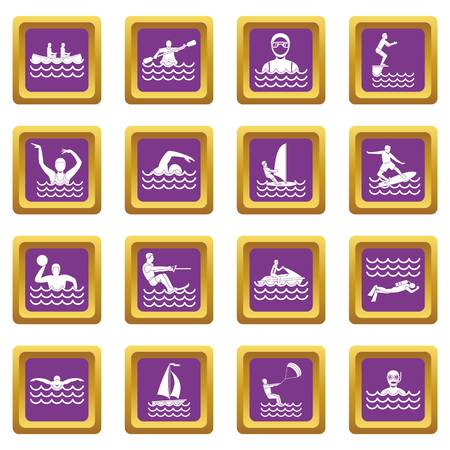 Water sport icons set in purple color isolated vector illustration for web and any design Illustration