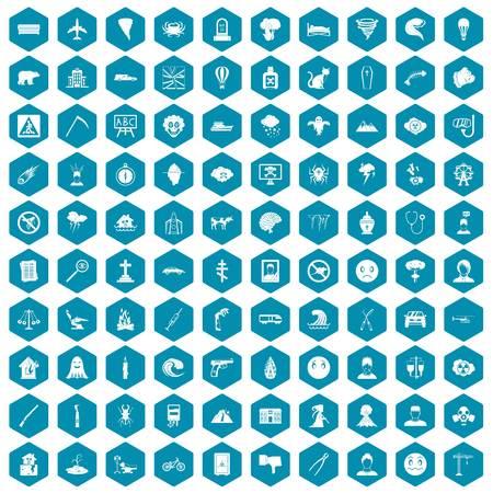 100 phobias icons set in sapphirine hexagon isolated vector illustration Иллюстрация