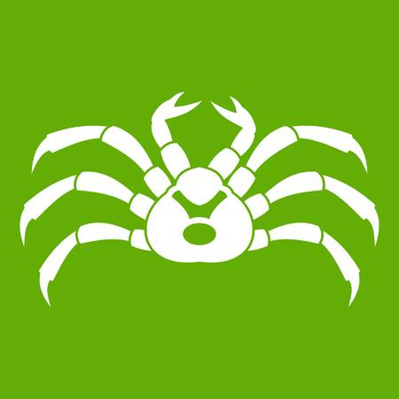 Fresh live crab icon white isolated on green background. Vector illustration Illustration