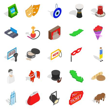Western culture icons set, isometric style Illustration