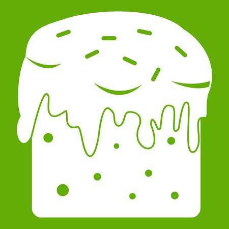 Easter cake icon white isolated on green background. Vector illustration
