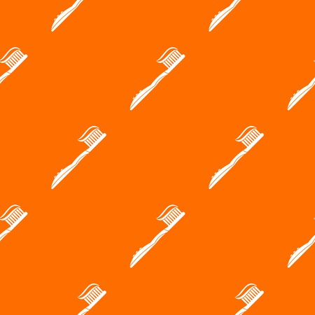 fluoride: Toothbrush with toothpaste pattern repeat seamless in orange color for any design. Vector geometric illustration Illustration