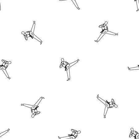 Wushu master pattern repeat in black color for any design geometric illustration Illustration