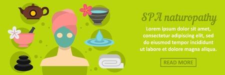 Spa naturopathy banner horizontal concept. Flat illustration of spa naturopathy banner horizontal vector concept for web