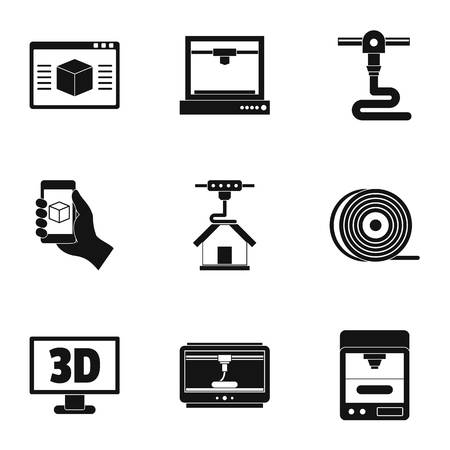 3d computer printer icon set, simple style