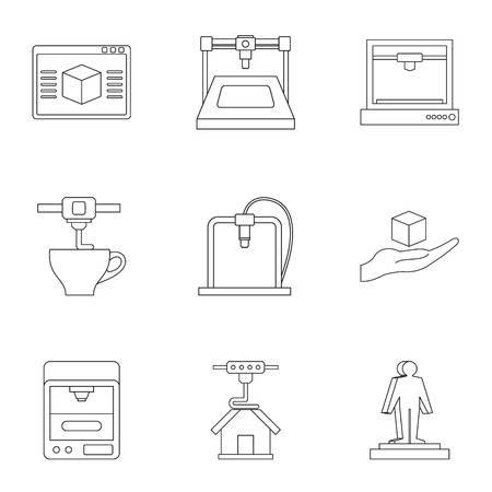 Computer 3d printer icon set. Outline set of 9 computer 3d printer icons for web isolated on white