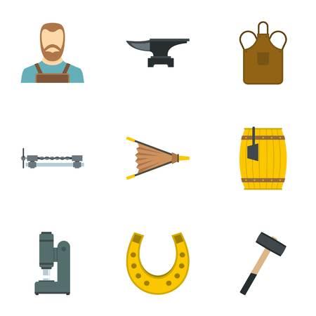 Industrial blacksmith icon set. Flat set of 9 industrial blacksmith icons for web isolated on white