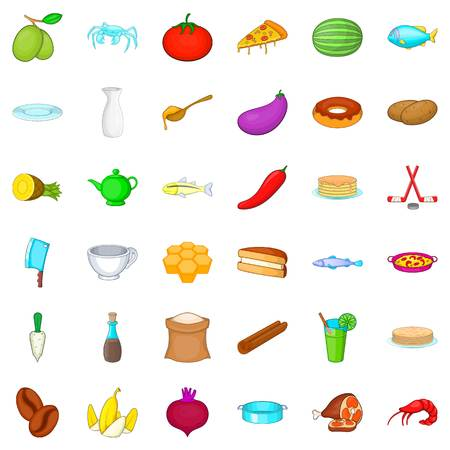 Culinary icons set. Cartoon style of 36 culinary icons for web isolated on white