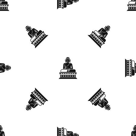 Buddha statue pattern repeat seamless in black color for any design. Vector geometric illustration