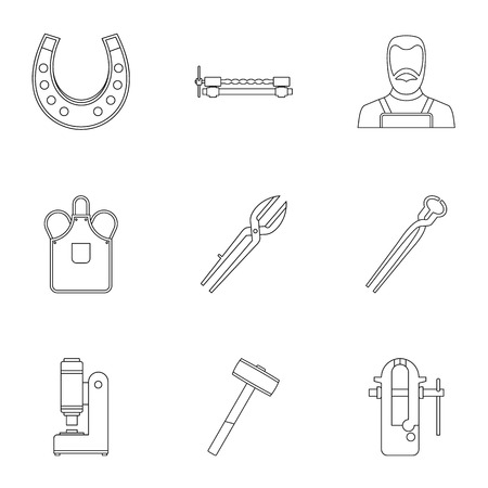 Industrial blacksmith icon set. Outline set of 9 industrial blacksmith vector icons for web isolated on white background Illustration