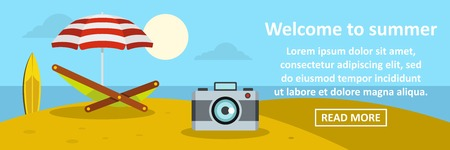 sun cream: Welcome to summer banner horizontal concept. Flat illustration of welcome to summer banner horizontal vector concept for web Illustration