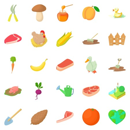 Sylviculture icons set, cartoon style
