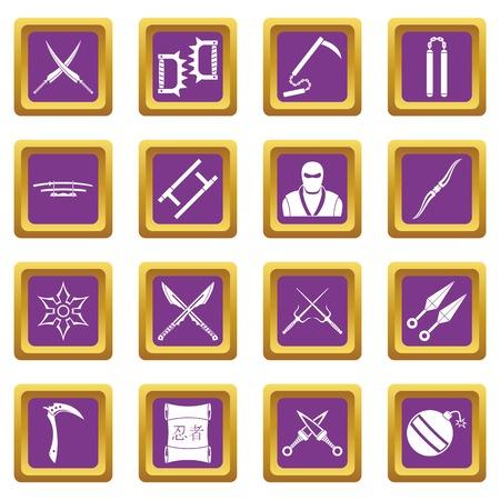 ninja tool: Ninja tools icons set purple Illustration