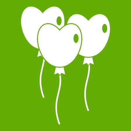 shiny hearts: Three balloons in the shape of heart icon white isolated on green background. Vector illustration