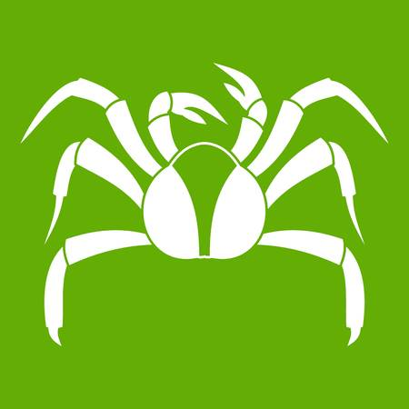Crab sea animal icon white isolated on green background. Vector illustration
