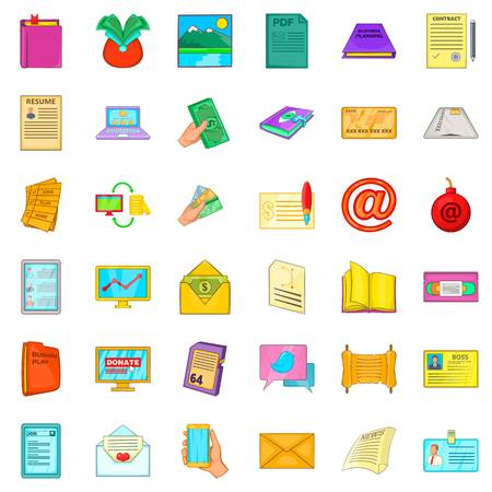 Document icons set. Cartoon style of 36 document vector icons for web isolated on white background