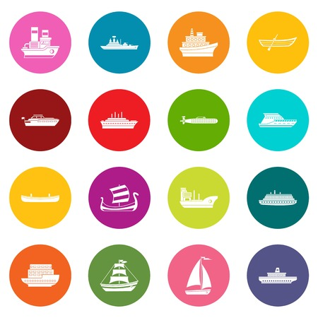 Sea transport icons many colors set isolated on white for digital marketing