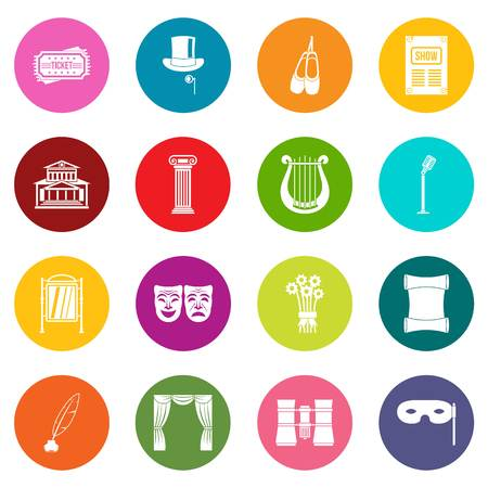 Theater icons many colors set isolated on white for digital marketing Illustration