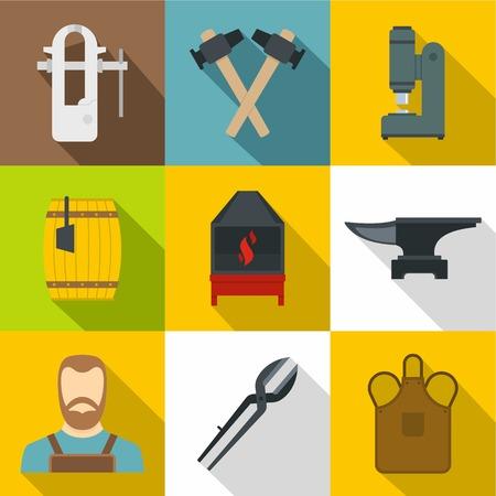 Blacksmith icons set. Flat set of 9 blacksmith vector icons for web with long shadow