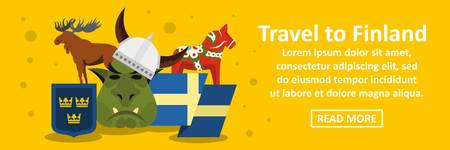 Travel to finland banner horizontal concept. Flat illustration of travel to finland banner horizontal vector concept for web