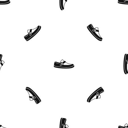 loafer: Men moccasin pattern repeat seamless in black color for any design. Vector geometric illustration