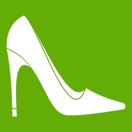 High heel shoe icon white isolated on green background. Vector illustration