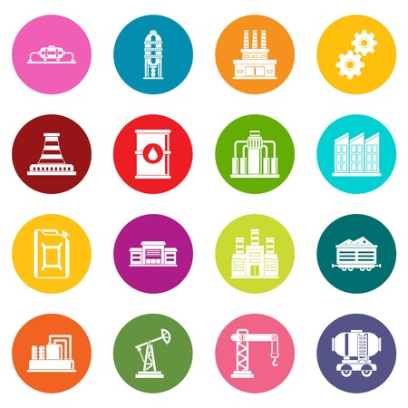 powerhouse: Industry icons many colors set isolated on white for digital marketing