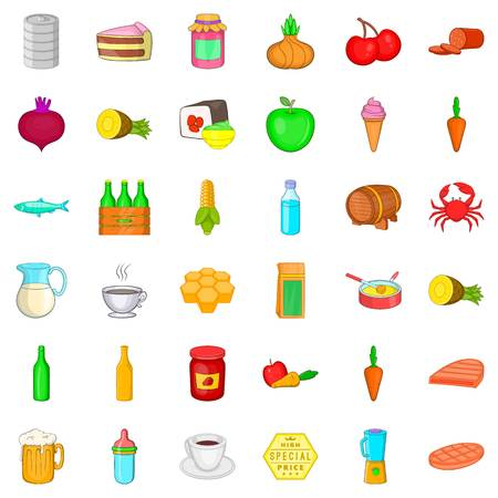 grille: Eating icons set. Cartoon style of 36 eating vector icons for web isolated on white background