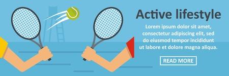Active lifestyle banner horizontal concept. Flat illustration of active lifestyle banner horizontal vector concept for web