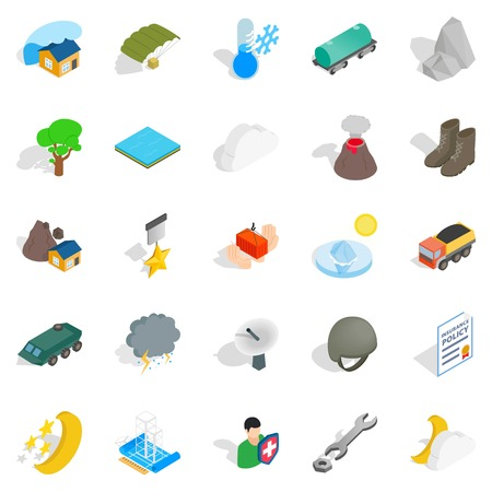 Inflammable icons set. Isometric set of 25 inflammable vector icons for web isolated on white background