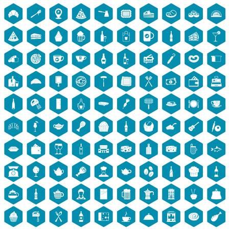 champagne celebration: 100 restaurant icons set in sapphirine hexagon isolated vector illustration