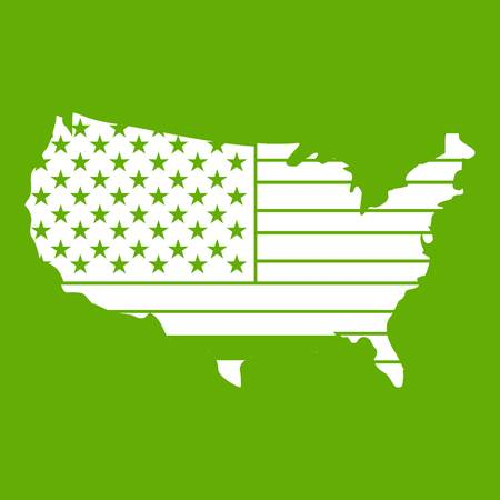 American map icon white isolated on green background. Vector illustration