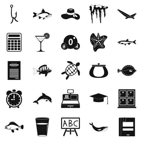 aquarium hobby: Turtle icons set. Simple set of 25 turtle vector icons for web isolated on white background Illustration