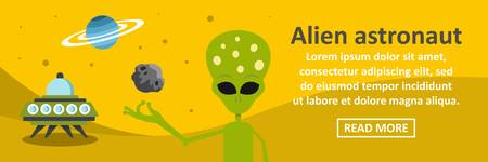 Alien astronaut banner horizontal concept. Flat illustration of alien astronaut banner horizontal vector concept for web