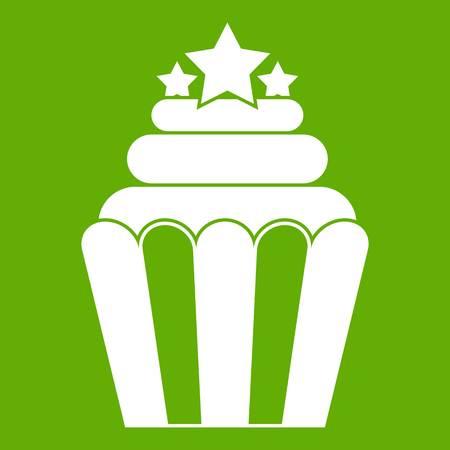 junkfood: Popcorn icon white isolated on green background. Vector illustration Illustration