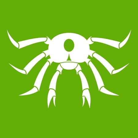 Crab seafood icon white isolated on green background. Vector illustration