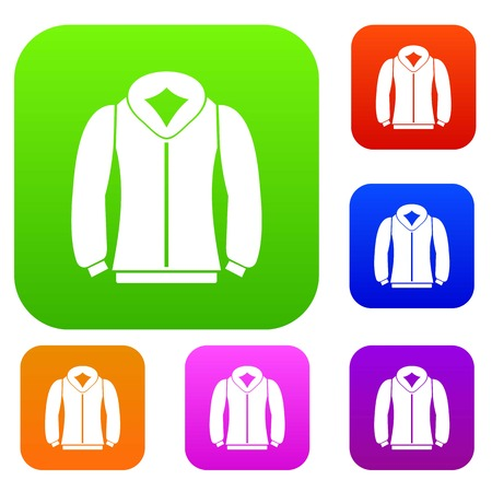 Sweatshirt set icon in different colors isolated vector illustration. Premium collection