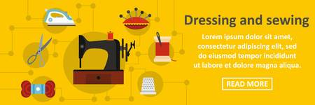 clothe: Dressing and sewing banner horizontal concept. Flat illustration of dressing and sewing banner horizontal vector concept for web