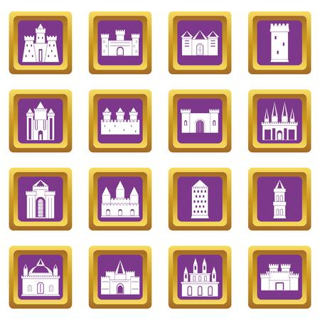 Towers and castles icons set in purple color isolated vector illustration for web and any design Vector Illustration