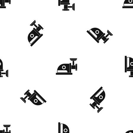 Electric grinder pattern repeat seamless in black color for any design. Vector geometric illustration