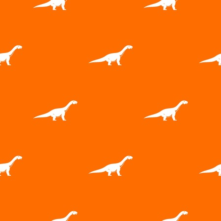 Titanosaurus dinosaur pattern repeat seamless in orange color for any design. Vector geometric illustration
