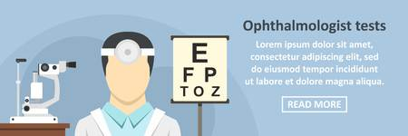 Ophthalmologist tests banner horizontal concept. Flat illustration of ophthalmologist tests banner horizontal vector concept for web