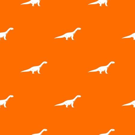Titanosaurus dinosaur pattern repeat seamless in orange color for any design. Vector geometric illustration