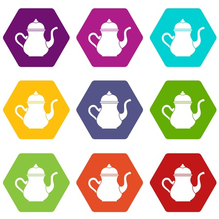 middle eastern food: Traditional Turkish teapot icon set many color hexahedron isolated on white vector illustration Illustration