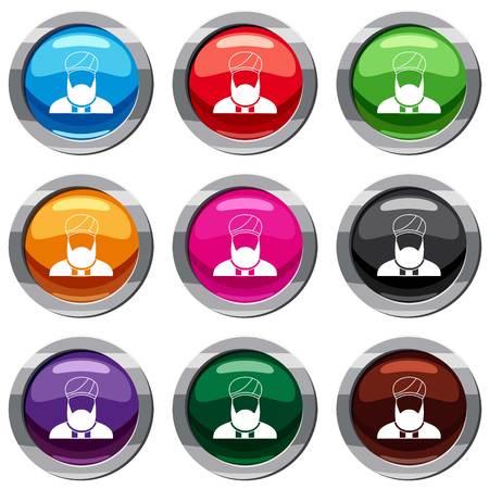 이슬람 목사는 흰색에 고립 된 아이콘을 설정합니다. 9 아이콘 컬렉션 벡터 일러스트 레이션